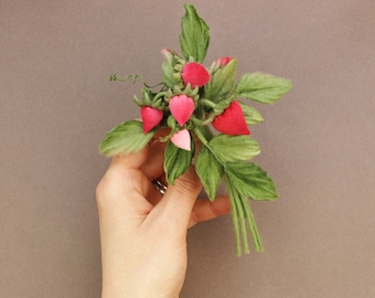 SAMPLE SALE strawberries, cotton anniversary gift, strawberry brooch, textile jewelry, cotton gift for her, strawberry jewellery