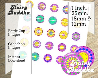 Beer bottle cap, Kaleidoscope Circles, Digital collage sheet, 1inch circles,  25mm, 18mm, 12mm, digitala bottle cap sheet, cabochon