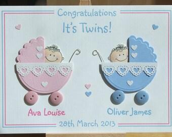 Congratulations twins, new baby card, new twins card, personalised card, handmade card, congratulations card,  keepsake card, greeting card