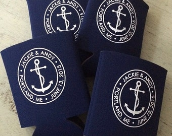 Wedding Can Cooler  Anchor Wedding Favors  Nautical Anchor Favors  Destination Beach Wedding Can Cooler Boat can coolers