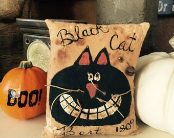 Primitive, Rustic, HALLOWEEN, Black Cat Pillow, Tuck