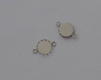10 connectors wave pendant for cabochons 12mm Platinum - Ref: SPP 606