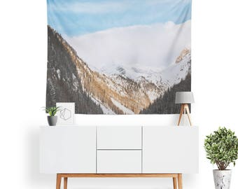 Snowy Mountain Tapestry | Mountain Tapestry | Mountain Wall Decor | Forest | Nature Tapestry | Boho Home Decor | Sky | Clouds | Landscape