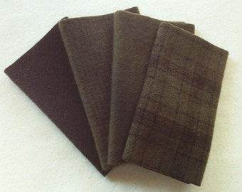 """Hand Dyed Wool Felt, TORTOISE SHELL, Four 6.5"""" x 16"""" pieces in Deep Olive Brown"""