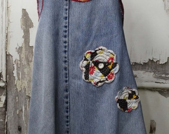 Little Girls Cross Back Pinafore Apron Upcycled Clothing Denim Apron Upcycled Jeans 18months
