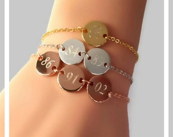 Gold coin bracelet, monogram initial bracelet, family tree bracelet, personalized mom bracelet, silver coin bracelet, grandma necklace gift