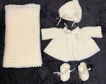 Baby Afghan-Sweater-Bonnet-Booties