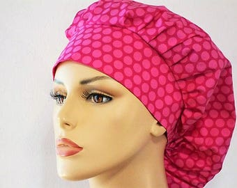 Scrub Hats Bouffant Surgical Scrub Hat - Pink on Pink Polka Dot  Medical Scrub Hat