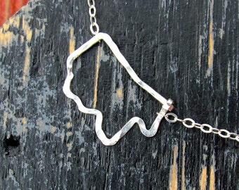 Sterling Mississippi outline necklace, Silver sideways hammered Mississippi Necklace