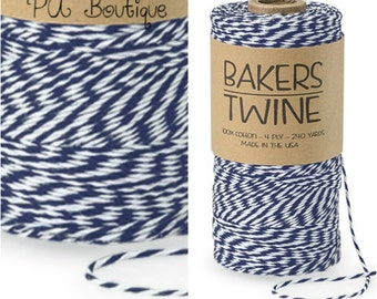 Navy Blue & White Duo 4-ply 100% Cotton Baker's Twine (Free Shipping!)