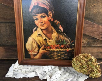 Vintage Picture/Girl with Cherries/Mexican/Gypsy/Framed