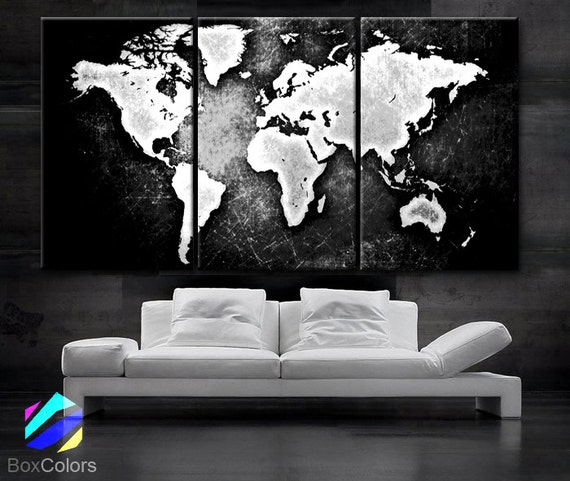 Large 30x 60 3 panels art canvas print world map black white contrast wall home office decor interior included framed 15 depth like this item gumiabroncs Image collections