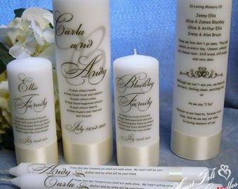 Wedding Ceremony Set - Monogram Unity Candle Set - Family Candles - Wedding Memorial Candle -Personalized Candles