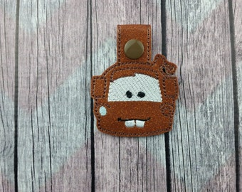 Tow Truck Snap Tabs for Sports Bags and Luggage, Key Chains, Zipper Pulls, Mater inspired