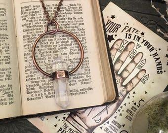 Clear Quartz Crystal Necklace Pendant / Bohemian Necklace / Gypsy Necklace Large Crystal Jewelry / Gothic Jewelry Boho gift idea