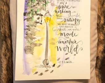 Made for Another World • C S Lewis Inklings Literary Art Print of a Handlettered Watercolor