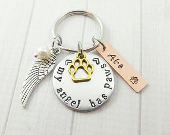 Silver Dog Memorial Gift Angel Pet Memorial Keychain Custom Dog Remembrance Tag Dog Pet Memorial Gifts Personalized Dog