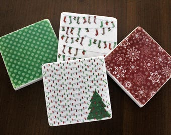 Stone Coasters - Cozy Christmas // Tumbled Marble Tile Coasters // Set of 4 // Holiday Coasters // Holiday Decor // Christmas Decor