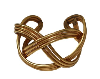 Vintage Chanel Attributed Gold Metal Braided Cuff 1970s