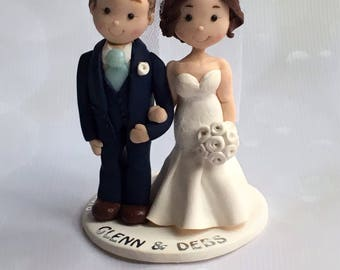 Personalised Clay Wedding Cake Topper, customized bespoke Fimo wedding cake toppers