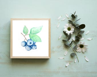 Small Art Prints Blueberry Print Tiny Painting Watercolor Watercolour Mini