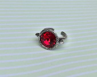 Gothic Scarlet Red Swarovski Ring