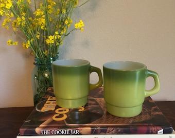 Vintage green Fire King mug set of (2)