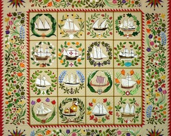 Quilts Ladies of the Sea Ships Baltimore Album BOM Block of Month 12 Pattern Set Come Quilt Quakertown