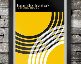 Tour de France Cycling Poster Print - Modernist style