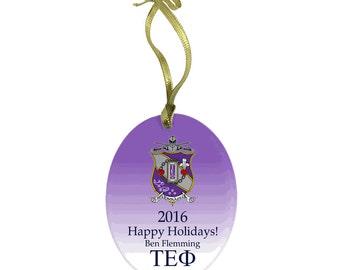 Tau Epsilon Phi Holiday Color Crest Glass Ornament