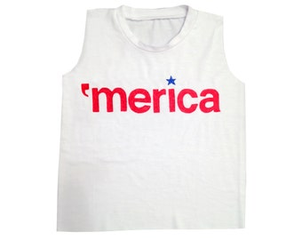 Merica Baby Muscle Tee, Patriotic Toddler Tee, Funny Baby Tee, America, Red White and Blue, Baby Fourth of July, 4th of July