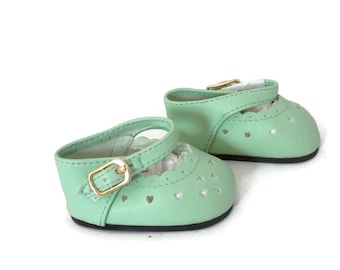Mint Green Vinyl  Mary Jane Shoes by Kayjay 1980's Doll Shoes w/ Vinyl Soles
