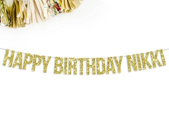 Custom Happy Birthday Banner   custom personalized birthday gift banner sign bunting decorations gold pink black silver 1st birthday golden