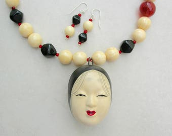 Amazing Japanese Noh Mask Bell Pendant, Old Mask Ceramic Bell. Bone & Lucite Beads,Blown Glass Bead, Statement Necklace Set by SandraDesigns