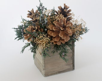 Pine Cone Christmas Holiday Table Centerpiece in a Rustic Wooden Planter Box