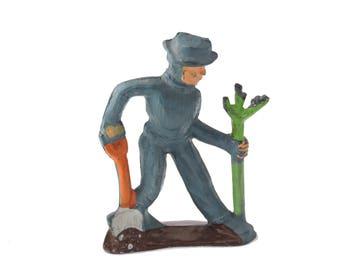 Vintage c.1930's Manoil Happy Farm Series Man Planting Tree Lead Figure - Made in USA - Farmer Planting Tree 41/37