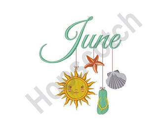June Mobile - Machine Embroidery Design, June, Summer