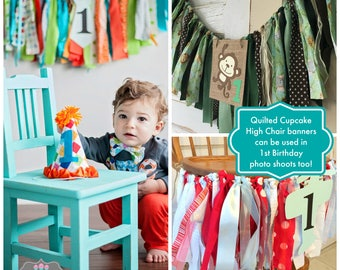 First Birthday Banner.  Boys High Chair Decoration, Smash Cake Birthday Party Decor.  YOU Choose the Colors. Custom MADE to fit YOUR theme.