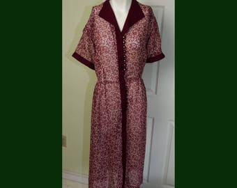 Vintage 1940's Woman's Cotton Voile Print Dress with Rhinestone Buttons Large