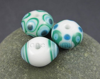 "Art glass lampwork beads, ""Minty Trio"" set of 3 beads, FHFTeam Y3, GBUK, SRA"