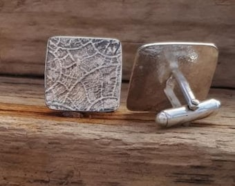 Silver Fossil cufflinks at MidasTouch Jewels by Patsy in Wales