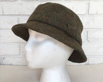 Vintage Green Tweed Wool Bucket Hat