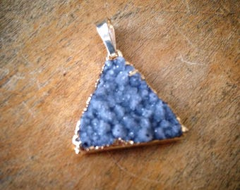 1 - Purple Grey 20mm Triangle Druzy Agate Pendant in 24K Gold Full Back Plating Drusy Gemstone Jewelry Making Supplies (AV014) 50DFL