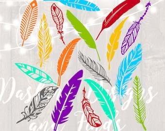 DIGITAL DOWNLOAD feathers clipart - feathers svg - png files - tribal feather - native american feather - cut files