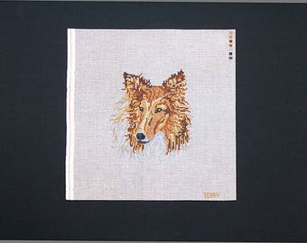 Collie Needlepoint Design, Collie Needlework, Dog Breeds, Needlepoint Collie, Needlework Collie, Collie Designs, Painted Needlepoint Collie