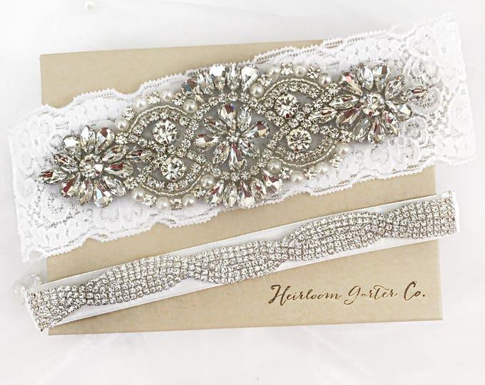 Wedding garter, Rhinestone and Lace Wedding Garter Set NO SLIP grip vintage rhinestones bridal garter B01S-E17S