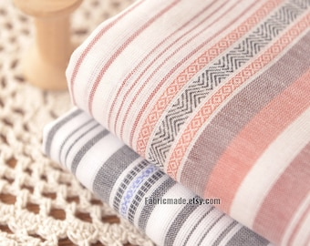 Yarn Dye Stripes Cotton fabric,  Blue Grey Gray Orange and White Stripes Cotton Soft For Summer Apparel- 1/2 Yard