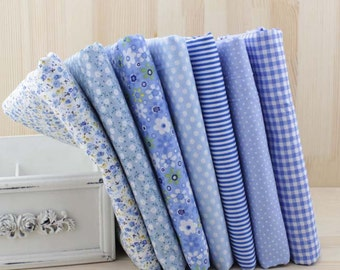 1 Lot of 100% Plain Cotton/Size: 50*50cm/DIY Handmade Fabric Supply/Blue and White