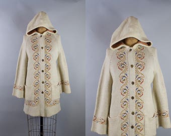 Vintage 1970s Hooded Sweater Cardigan