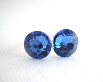 Swarovski Crystal Stud Earrings, Blue Earrings, Blue Studs, Deep Blue, Crystal Earrings, Sapphire Earrings, Bridesmaid Gifts